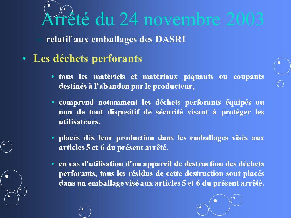 Arrêté du 24 novembre 2003 Les déchets perforants