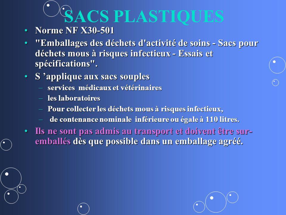 SACS PLASTIQUES Norme NF X30-501