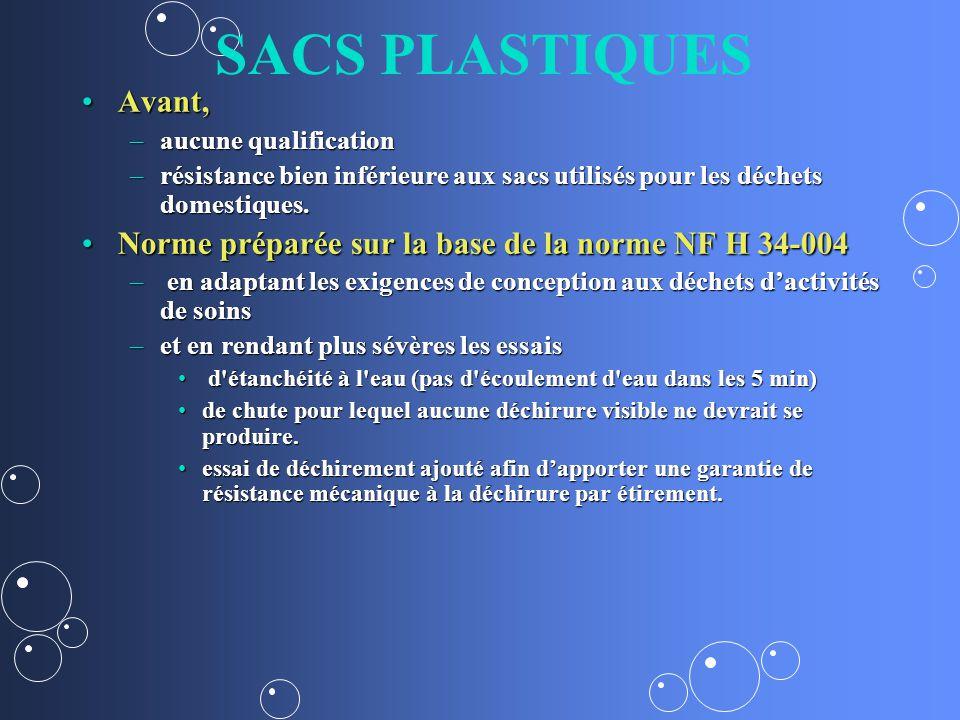 SACS PLASTIQUES Avant, aucune qualification. résistance bien inférieure aux sacs utilisés pour les déchets domestiques.