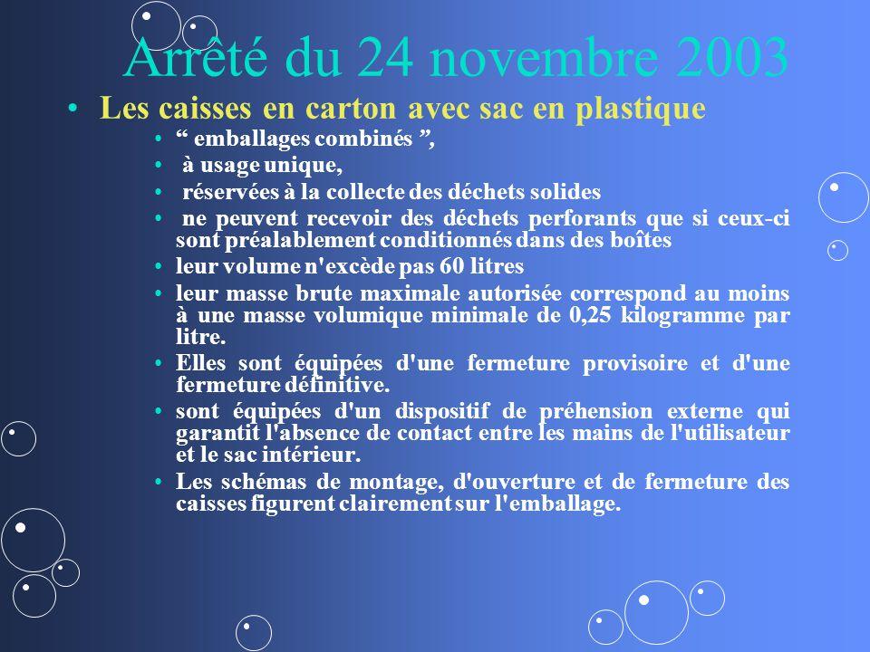 Arrêté du 24 novembre 2003 Les caisses en carton avec sac en plastique