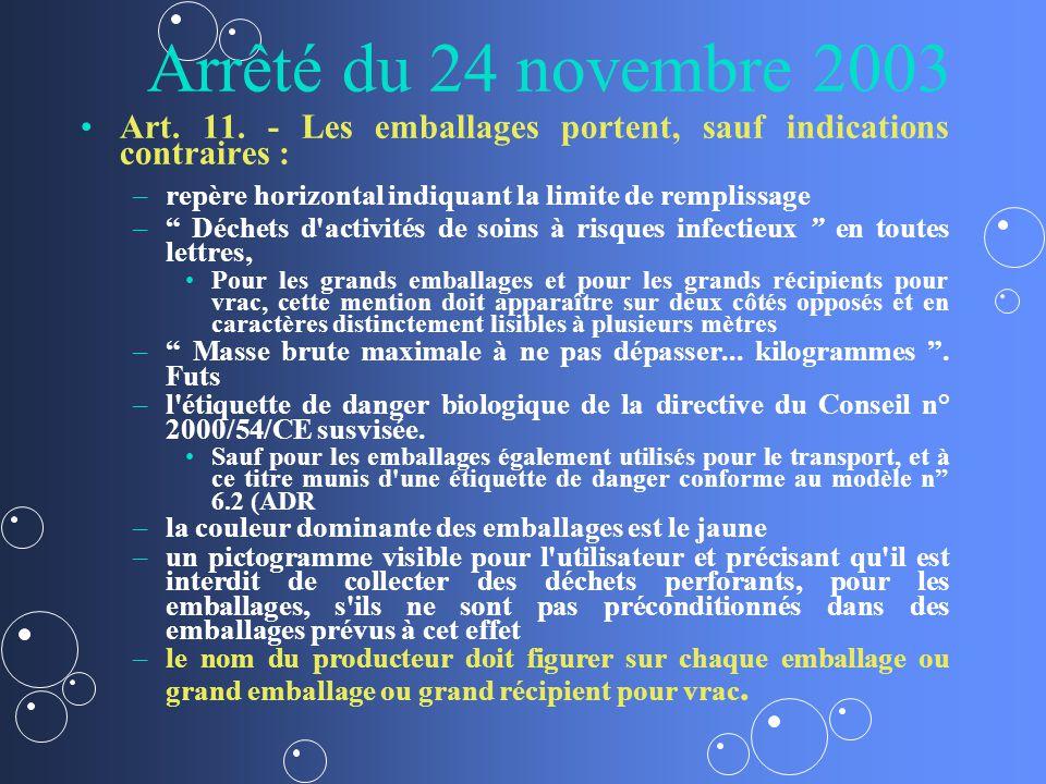 Arrêté du 24 novembre 2003 Art. 11. - Les emballages portent, sauf indications contraires : repère horizontal indiquant la limite de remplissage.