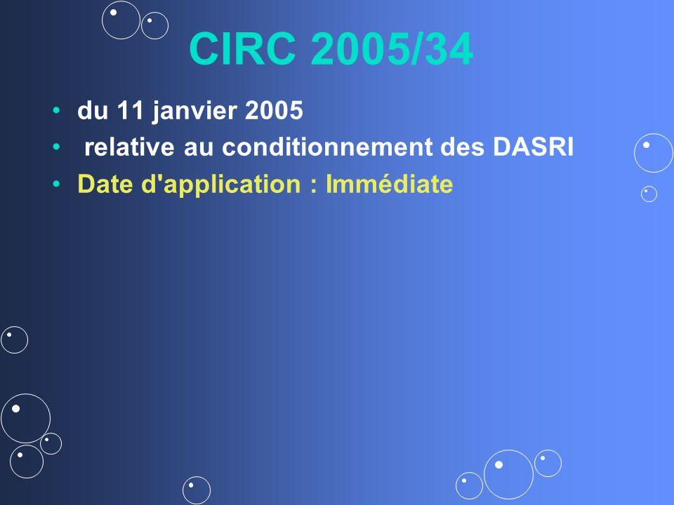 CIRC 2005/34 du 11 janvier 2005 relative au conditionnement des DASRI