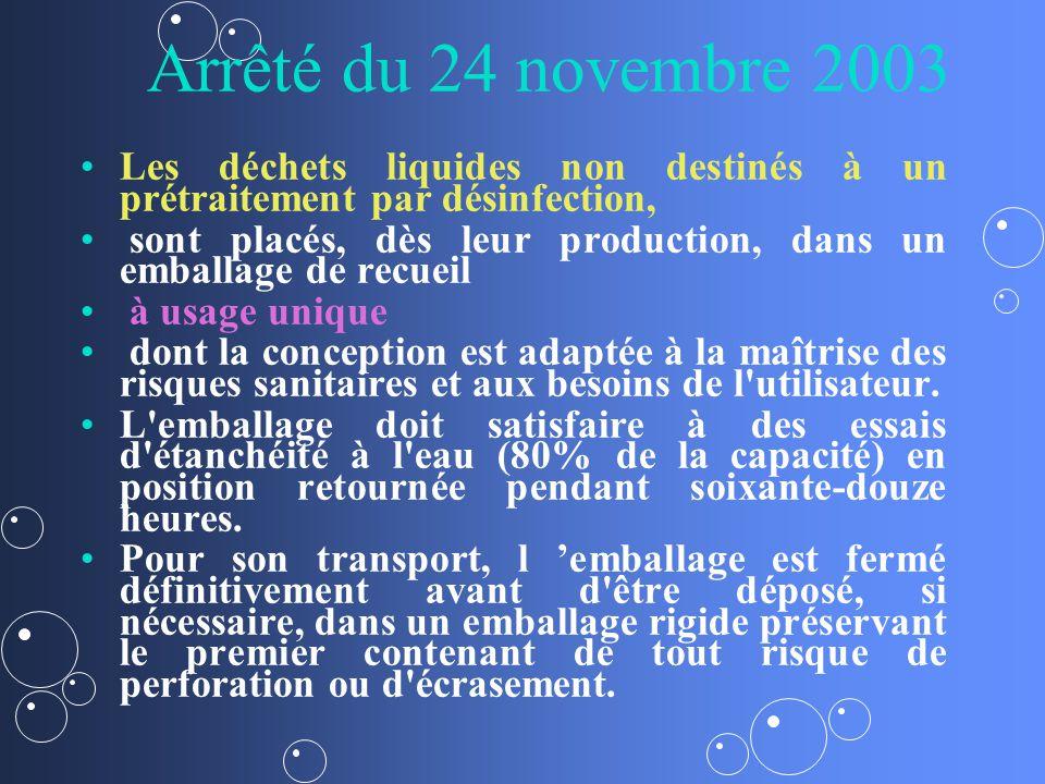 Arrêté du 24 novembre 2003 Les déchets liquides non destinés à un prétraitement par désinfection,