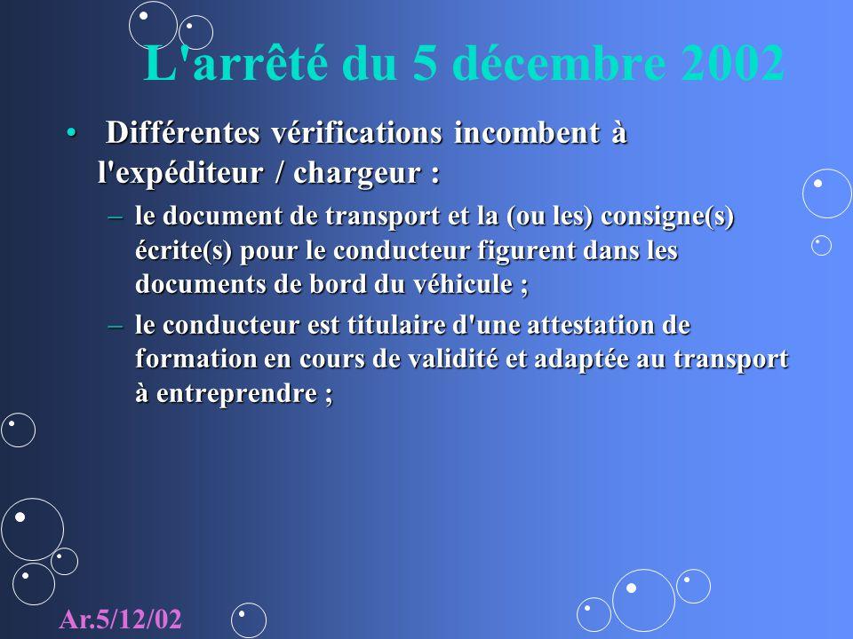 L arrêté du 5 décembre 2002 Différentes vérifications incombent à l expéditeur / chargeur :