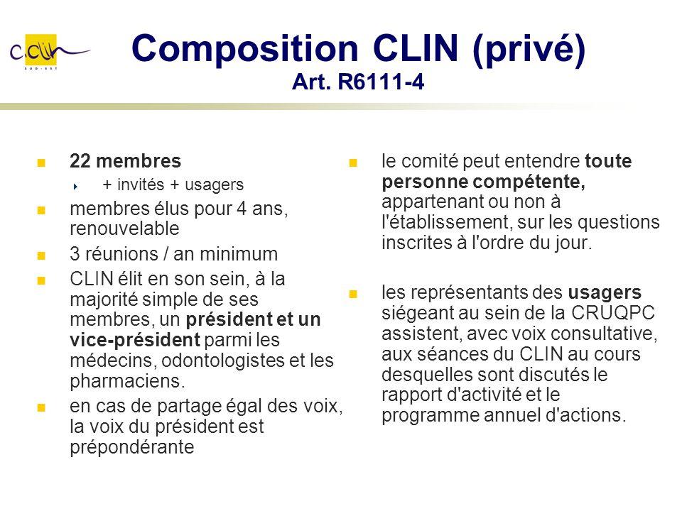Composition CLIN (privé) Art. R6111-4