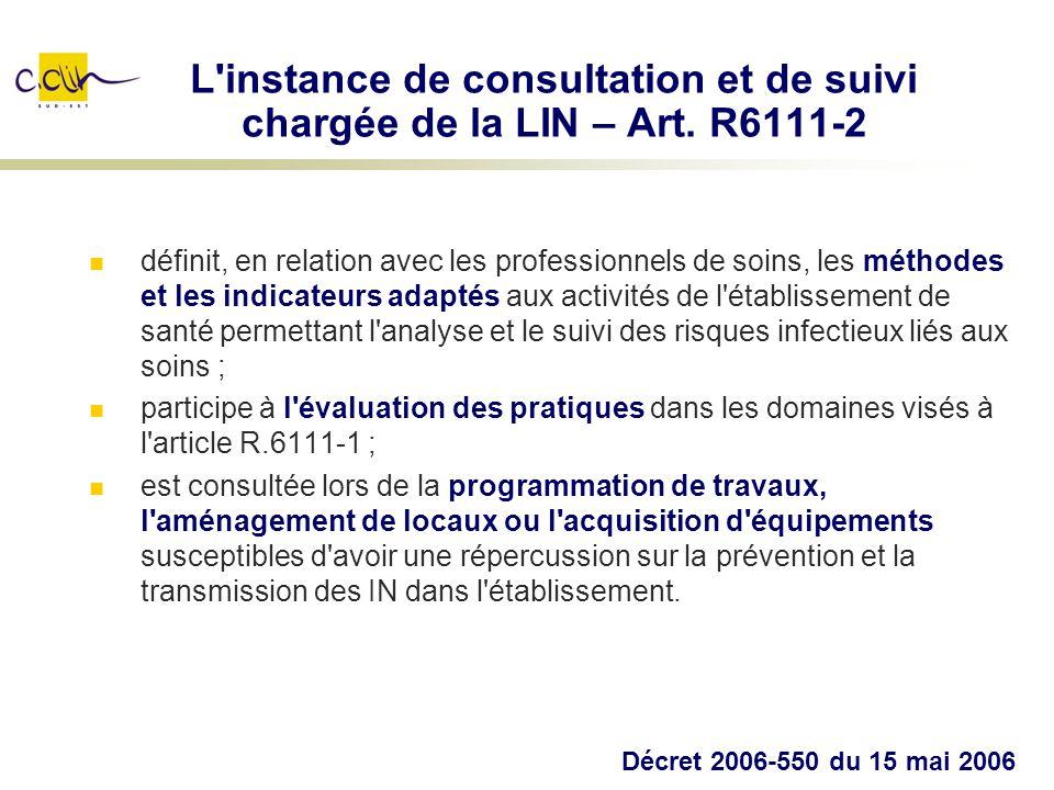 L instance de consultation et de suivi chargée de la LIN – Art. R6111-2