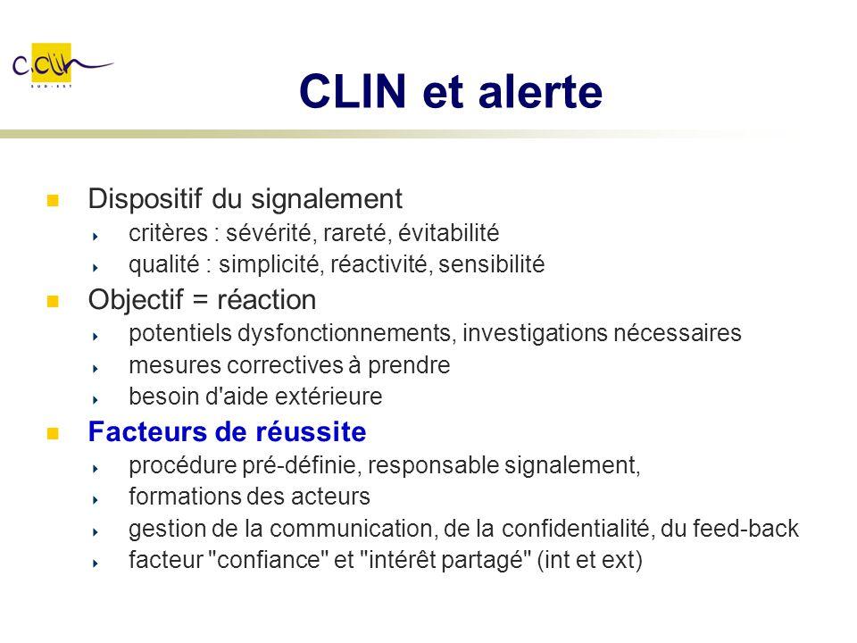 CLIN et alerte Dispositif du signalement Objectif = réaction