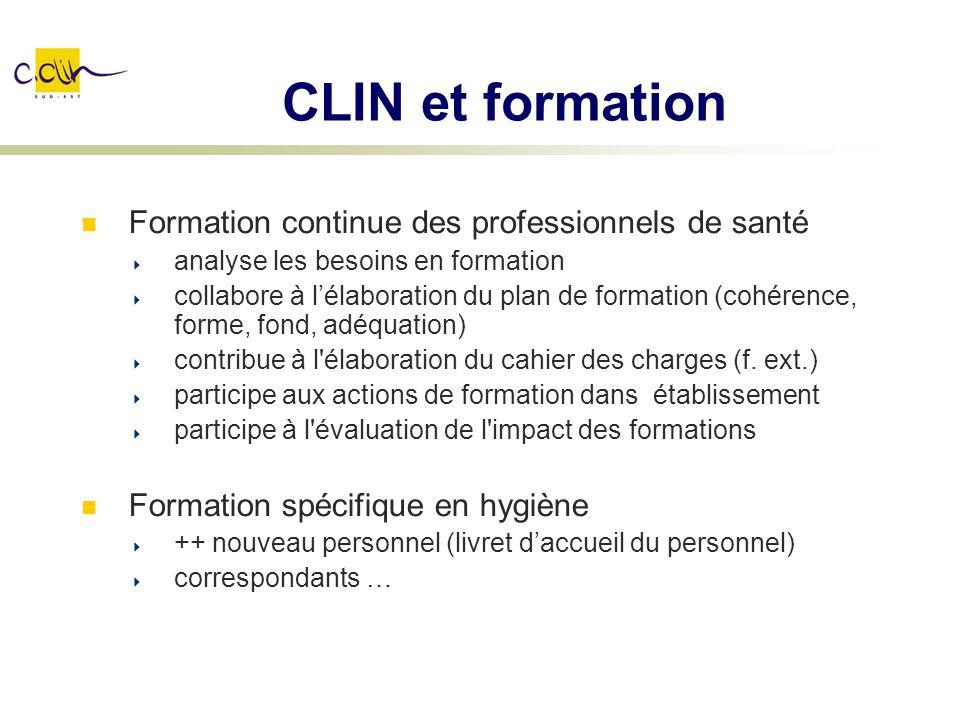 CLIN et formation Formation continue des professionnels de santé
