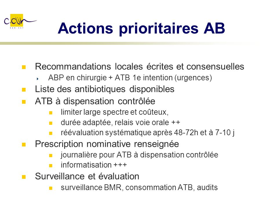 Actions prioritaires AB