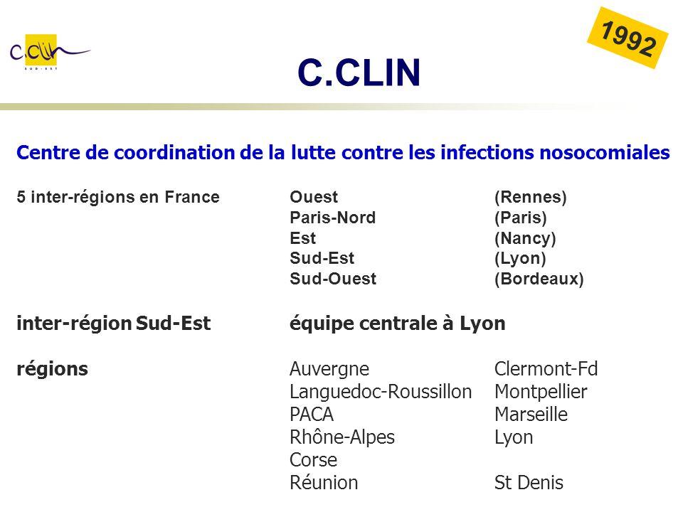 C.CLIN 1992. Centre de coordination de la lutte contre les infections nosocomiales. 5 inter-régions en France Ouest (Rennes)