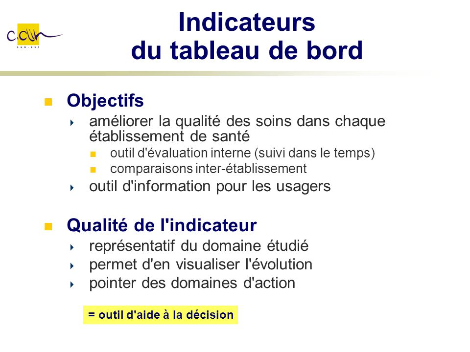 Indicateurs du tableau de bord