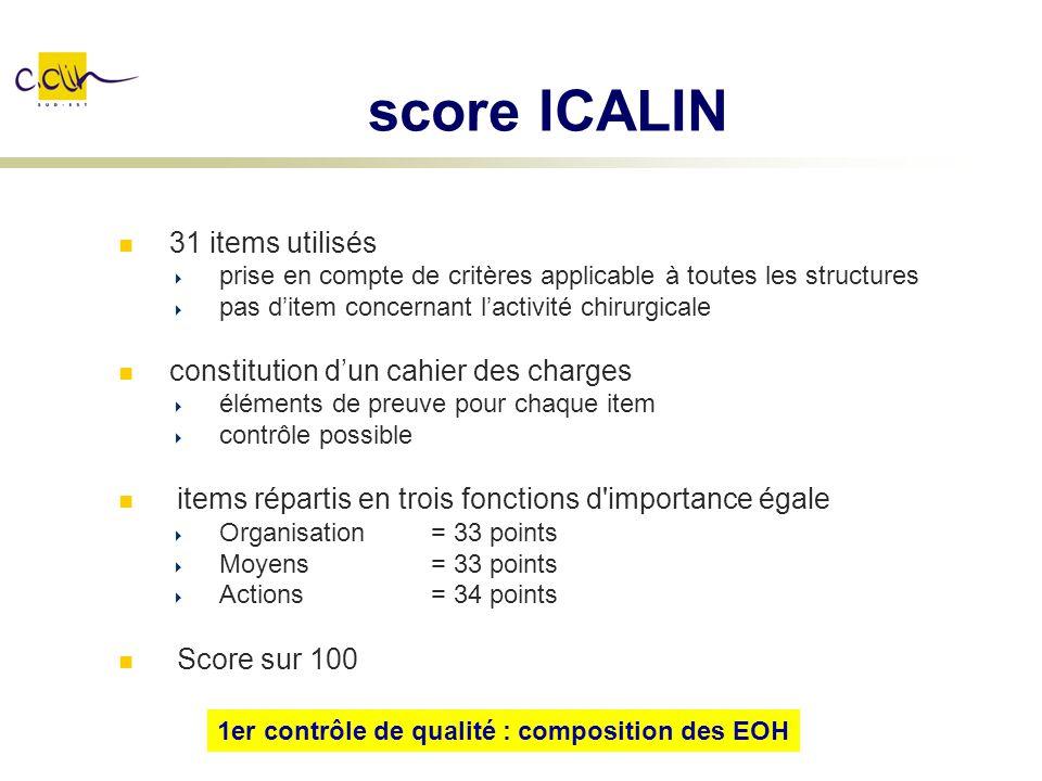 score ICALIN 31 items utilisés constitution d'un cahier des charges