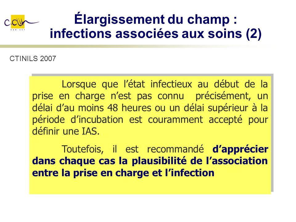 Élargissement du champ : infections associées aux soins (2)