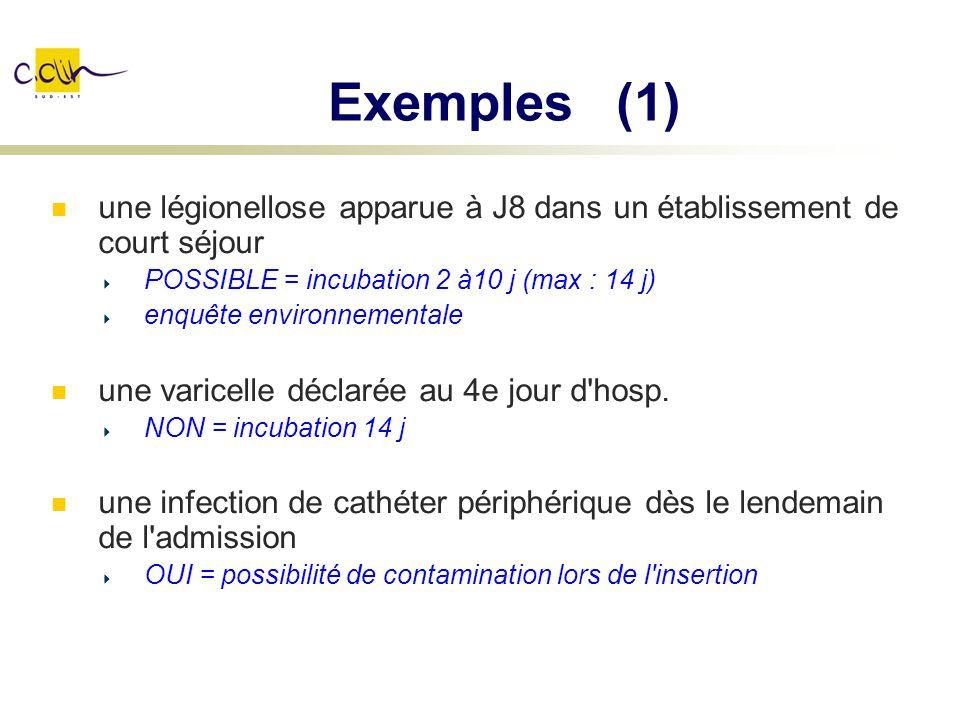 Exemples (1) une légionellose apparue à J8 dans un établissement de court séjour. POSSIBLE = incubation 2 à10 j (max : 14 j)