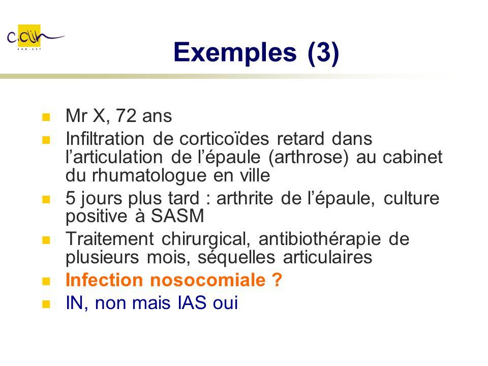 Exemples (3) Mr X, 72 ans. Infiltration de corticoïdes retard dans l'articulation de l'épaule (arthrose) au cabinet du rhumatologue en ville.