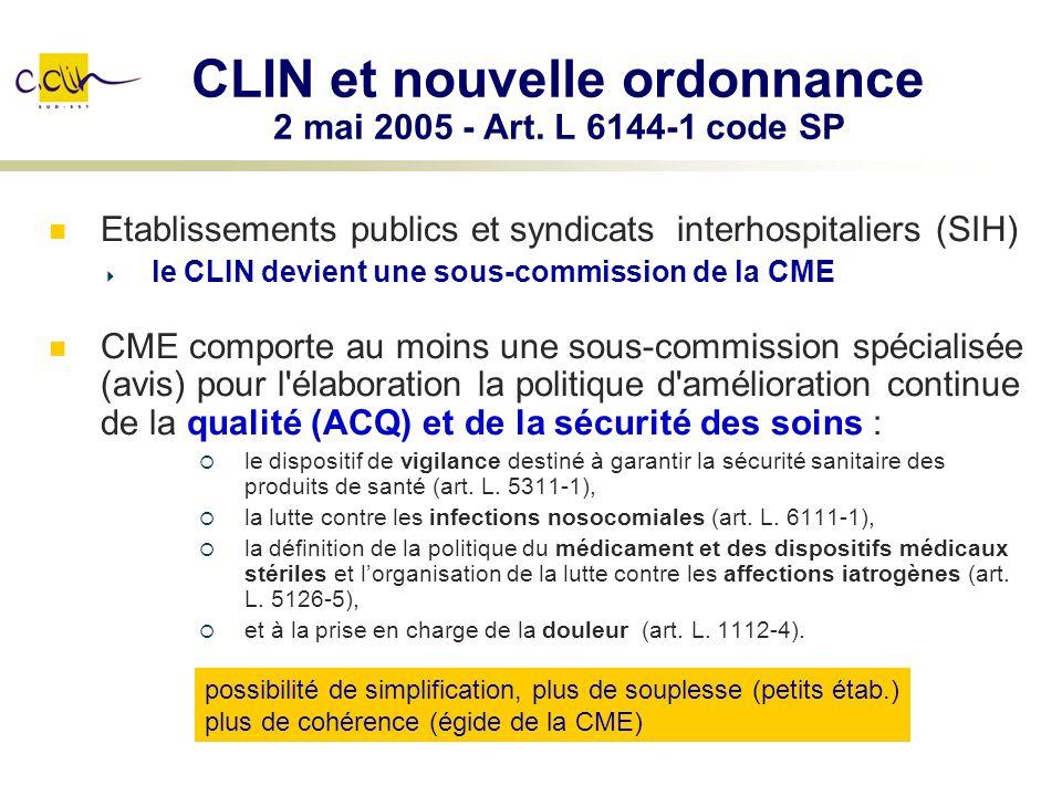 CLIN et nouvelle ordonnance 2 mai 2005 - Art. L 6144-1 code SP