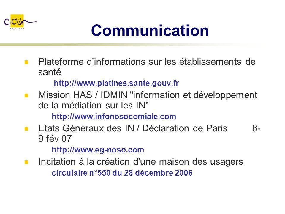 Communication Plateforme d'informations sur les établissements de santé. http://www.platines.sante.gouv.fr.