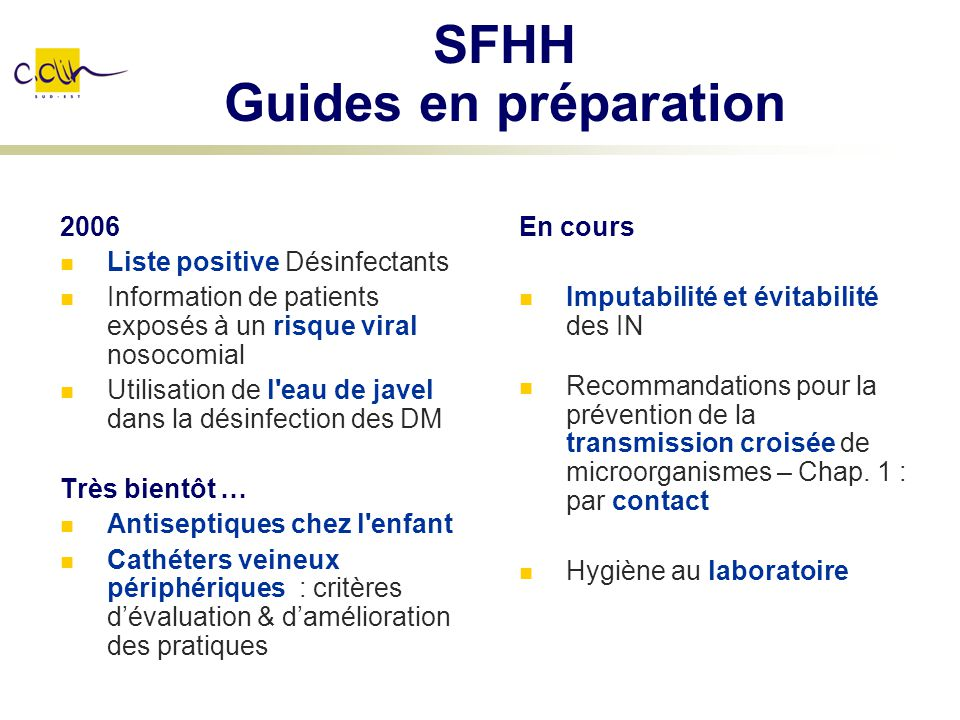 SFHH Guides en préparation
