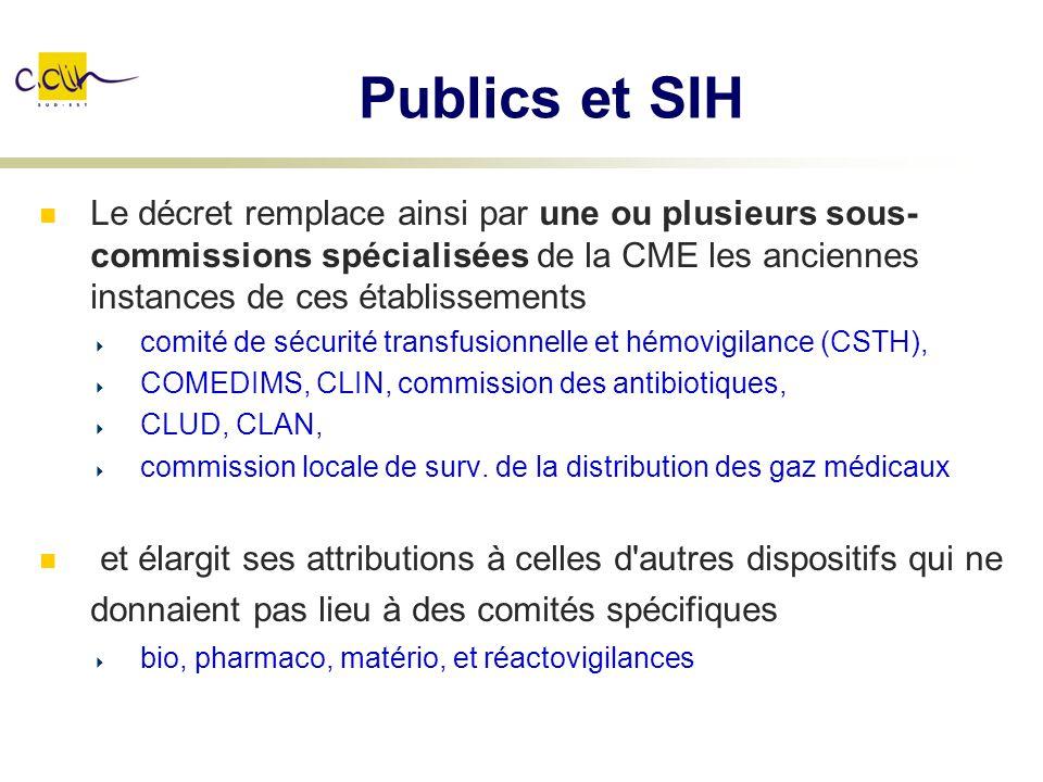 Publics et SIH Le décret remplace ainsi par une ou plusieurs sous-commissions spécialisées de la CME les anciennes instances de ces établissements.