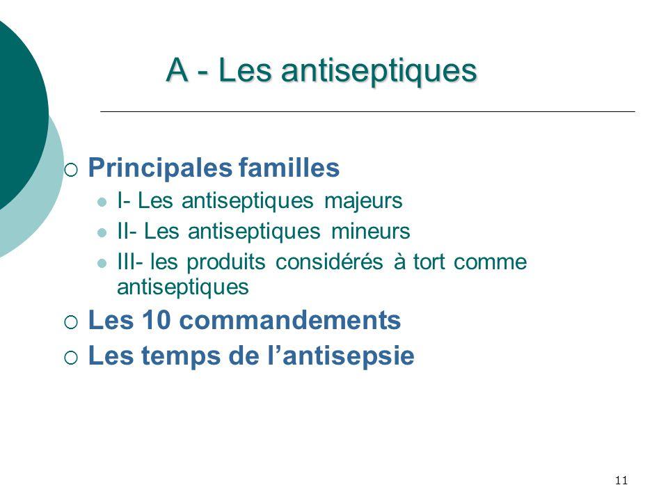 A - Les antiseptiques Principales familles Les 10 commandements