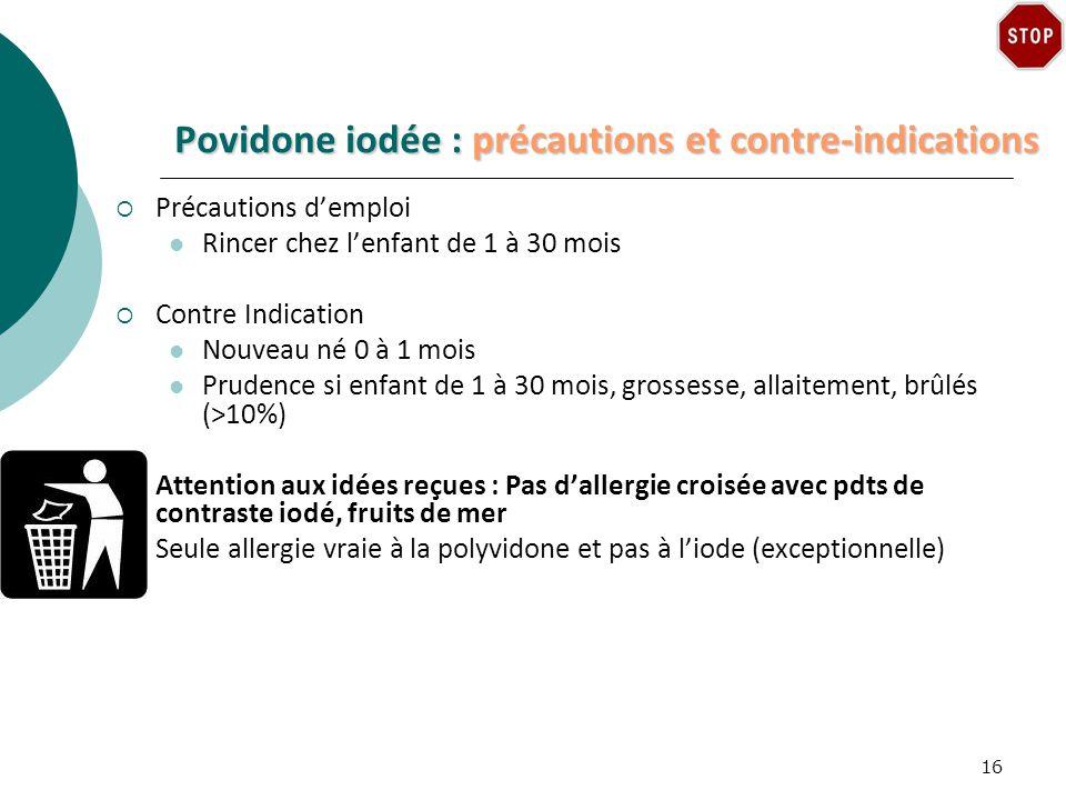 Povidone iodée : précautions et contre-indications