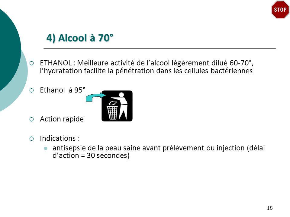 4) Alcool à 70°