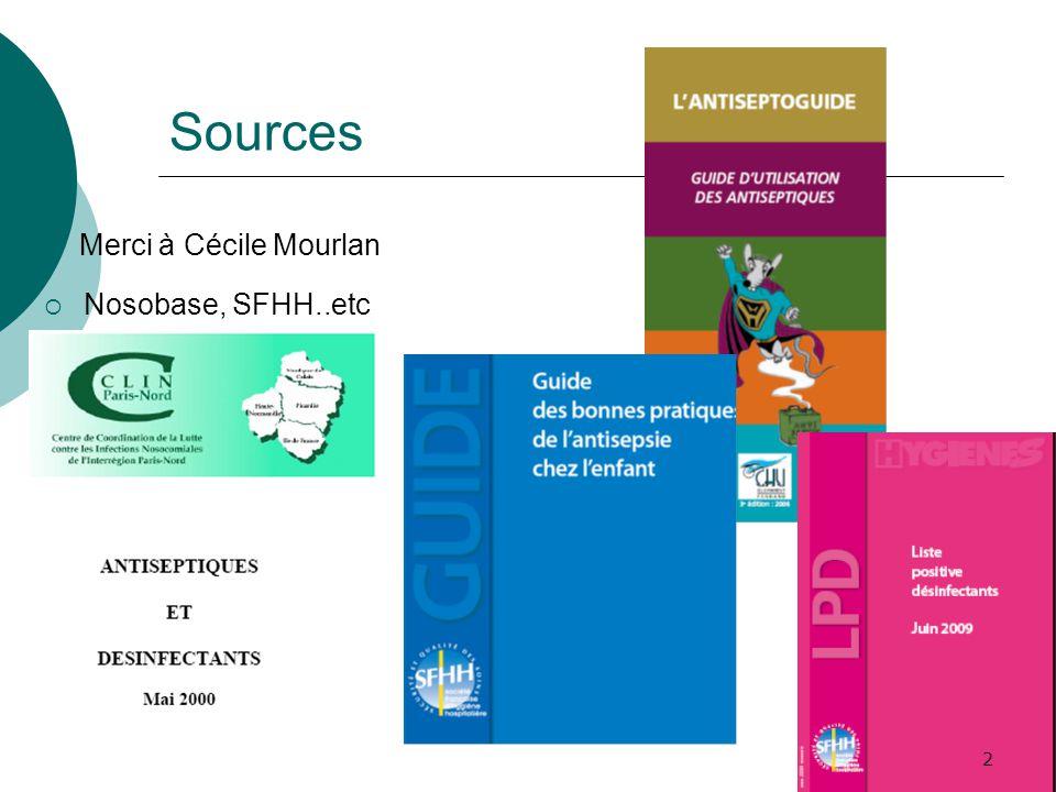 Sources Merci à Cécile Mourlan Nosobase, SFHH..etc