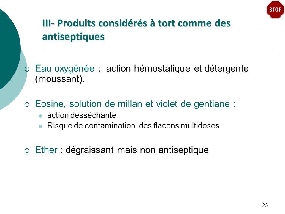 III- Produits considérés à tort comme des antiseptiques