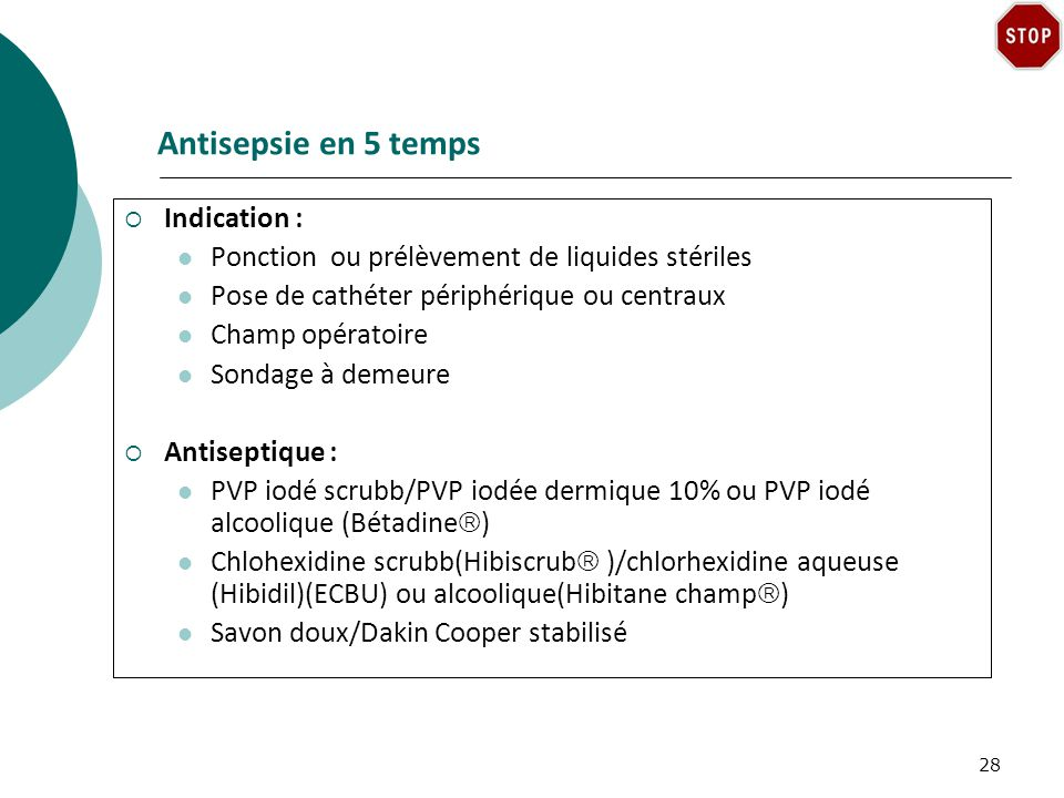 Antisepsie en 5 temps Indication :