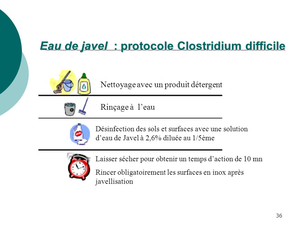 Eau de javel : protocole Clostridium difficile