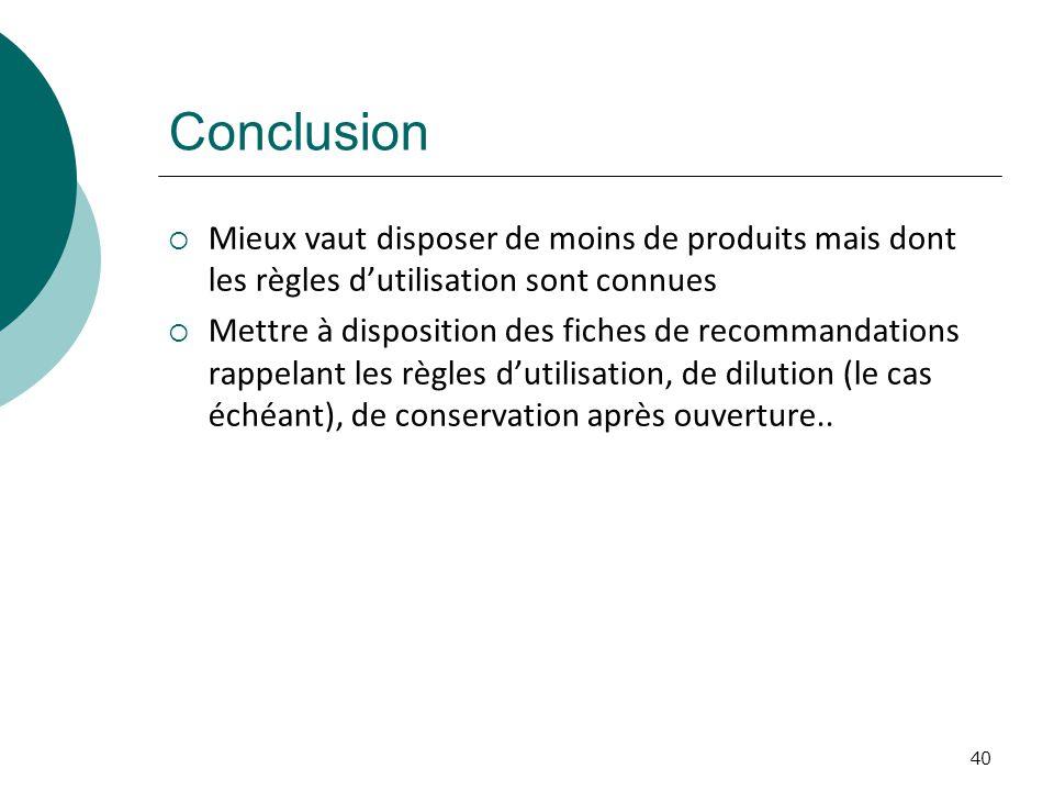 Conclusion Mieux vaut disposer de moins de produits mais dont les règles d'utilisation sont connues.