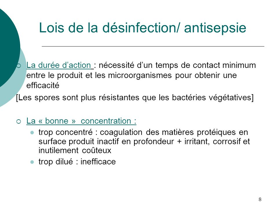 Lois de la désinfection/ antisepsie