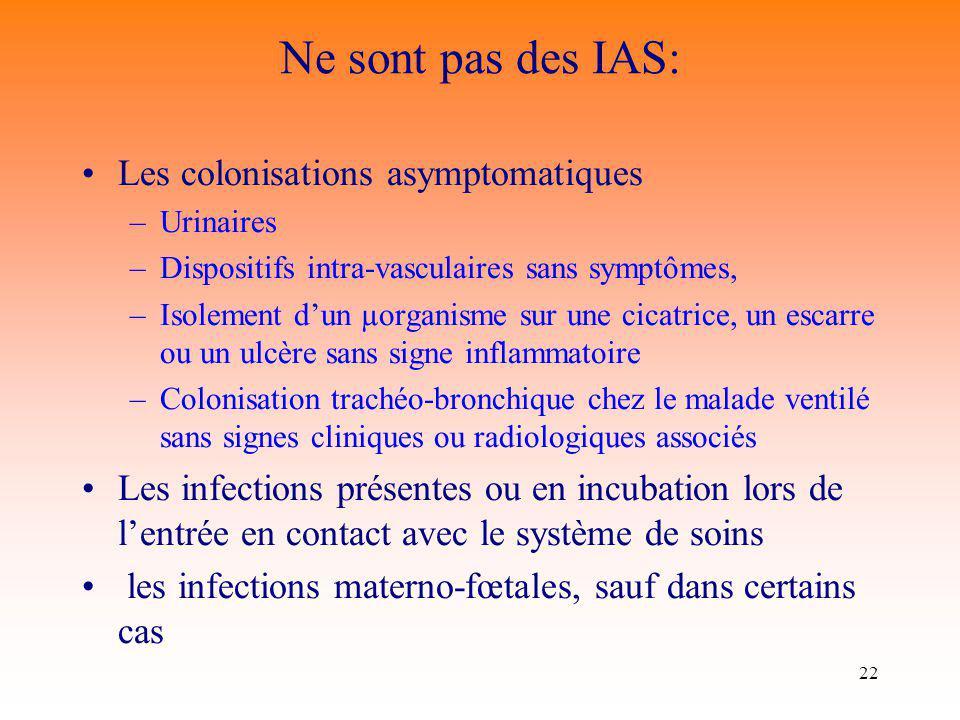 Ne sont pas des IAS: Les colonisations asymptomatiques