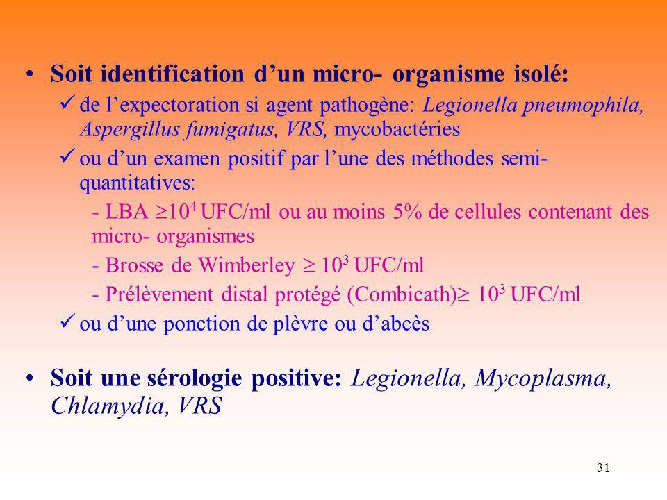 Soit identification d'un micro- organisme isolé: