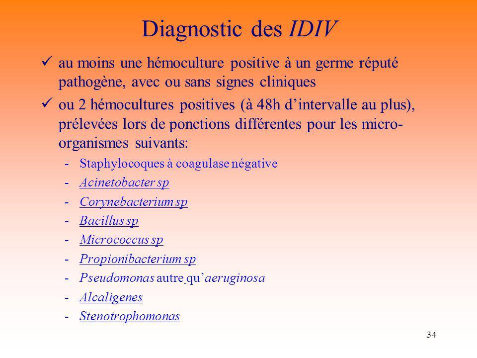 Diagnostic des IDIV au moins une hémoculture positive à un germe réputé pathogène, avec ou sans signes cliniques.