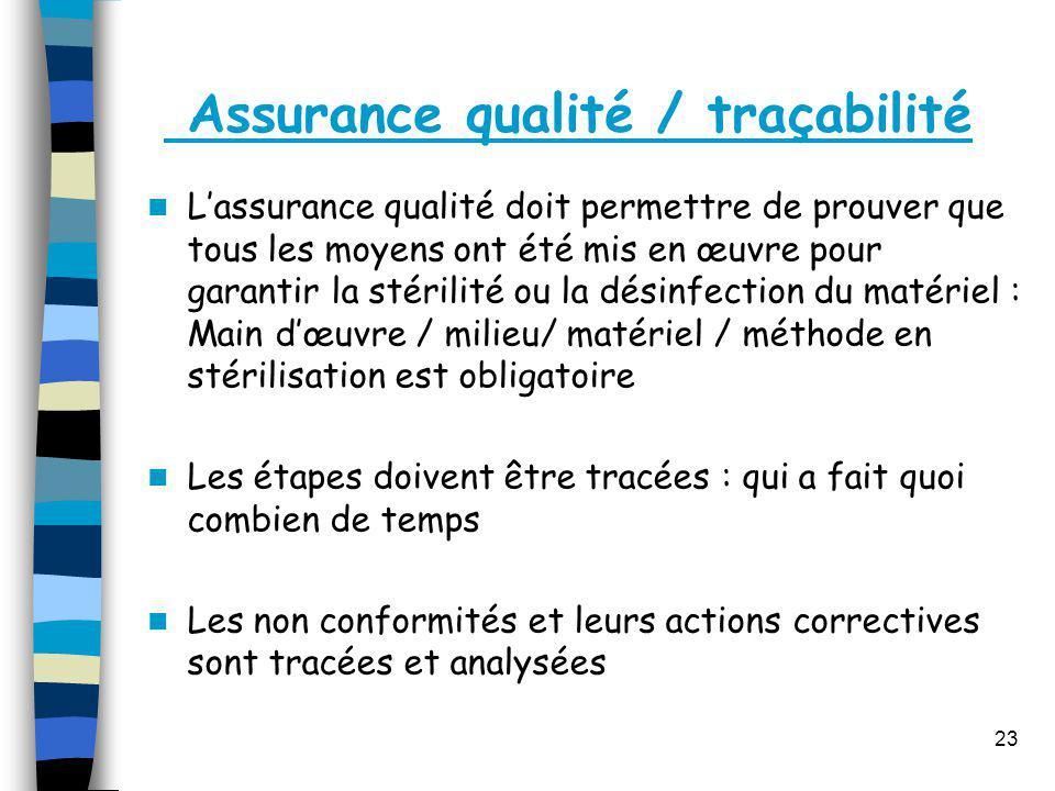 Assurance qualité / traçabilité
