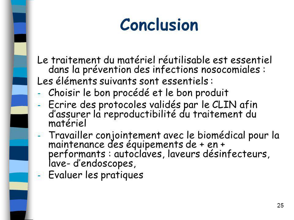 Conclusion Le traitement du matériel réutilisable est essentiel dans la prévention des infections nosocomiales :