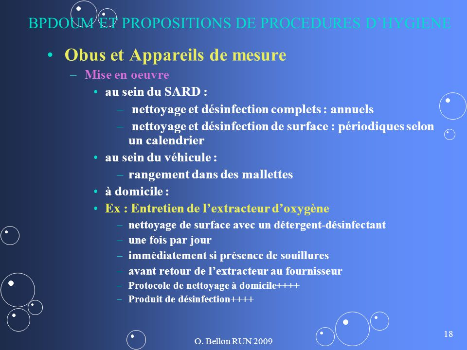 BPDOUM ET PROPOSITIONS DE PROCEDURES D'HYGIENE