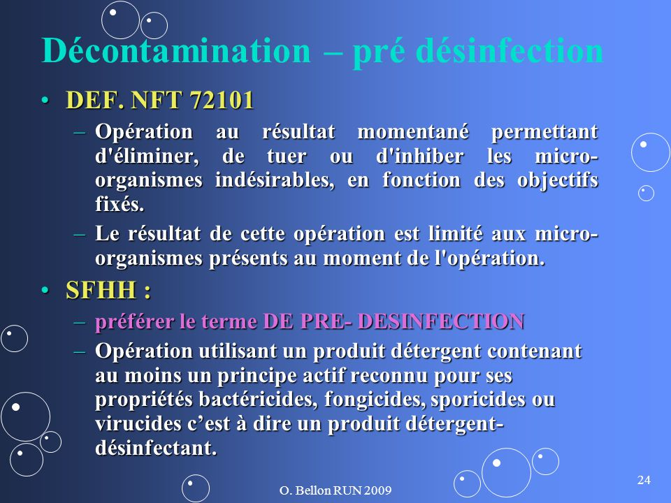 Décontamination – pré désinfection