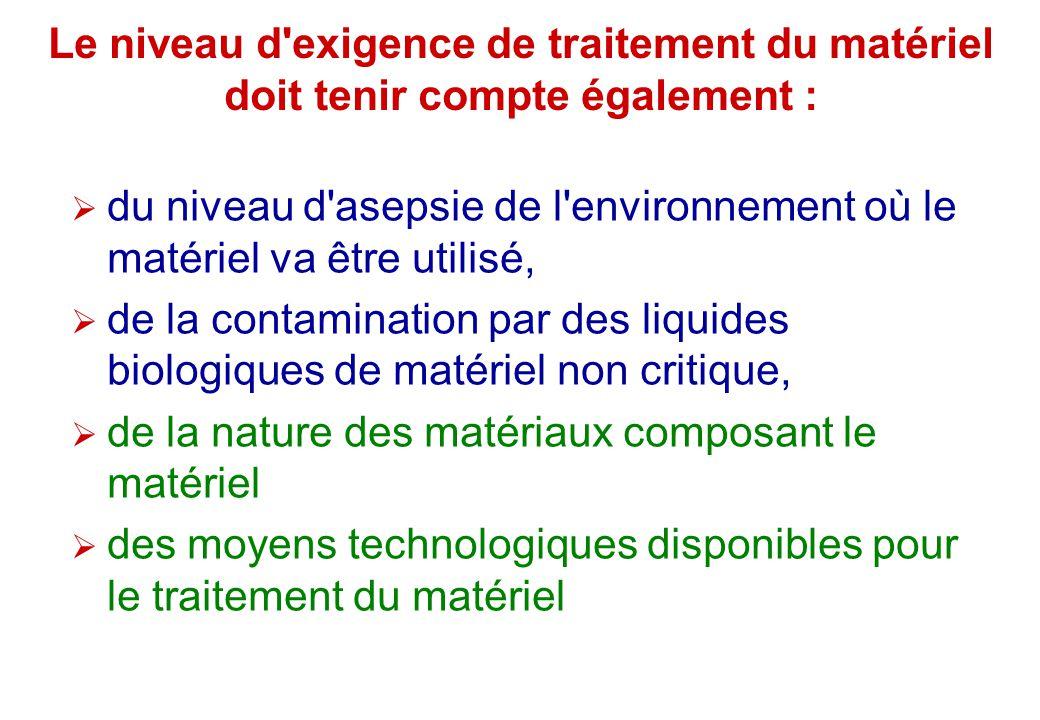 Le niveau d exigence de traitement du matériel doit tenir compte également :