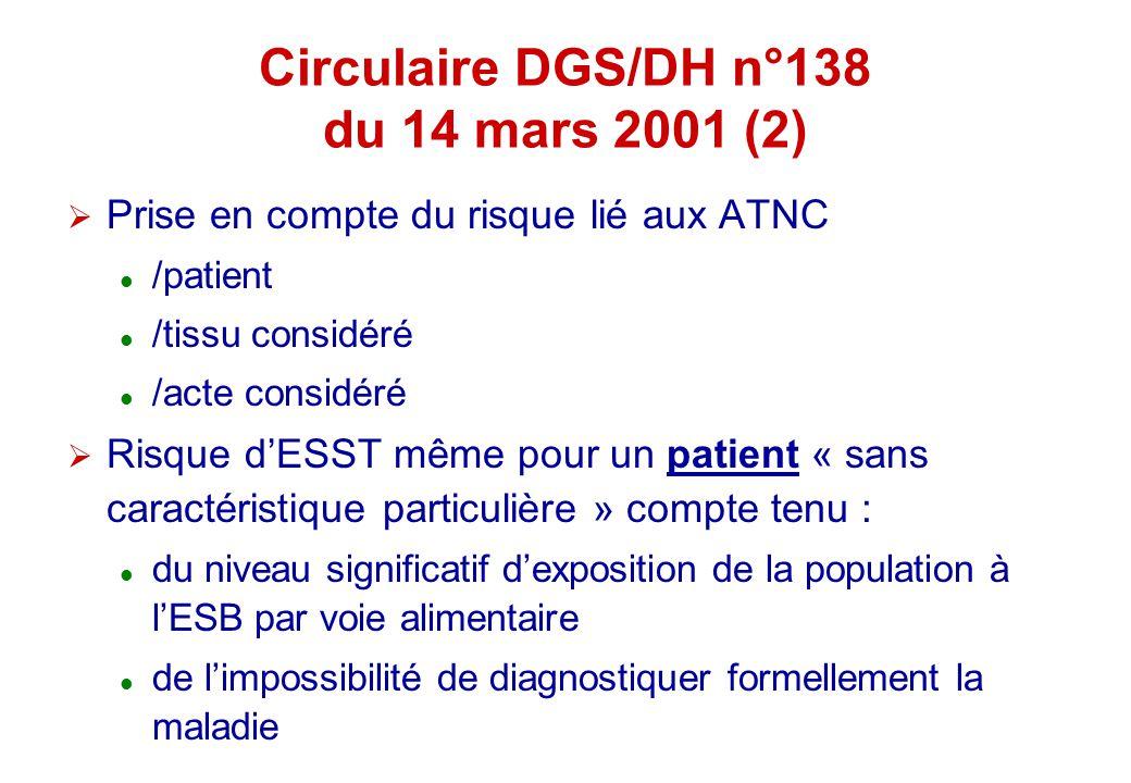 Circulaire DGS/DH n°138 du 14 mars 2001 (2)