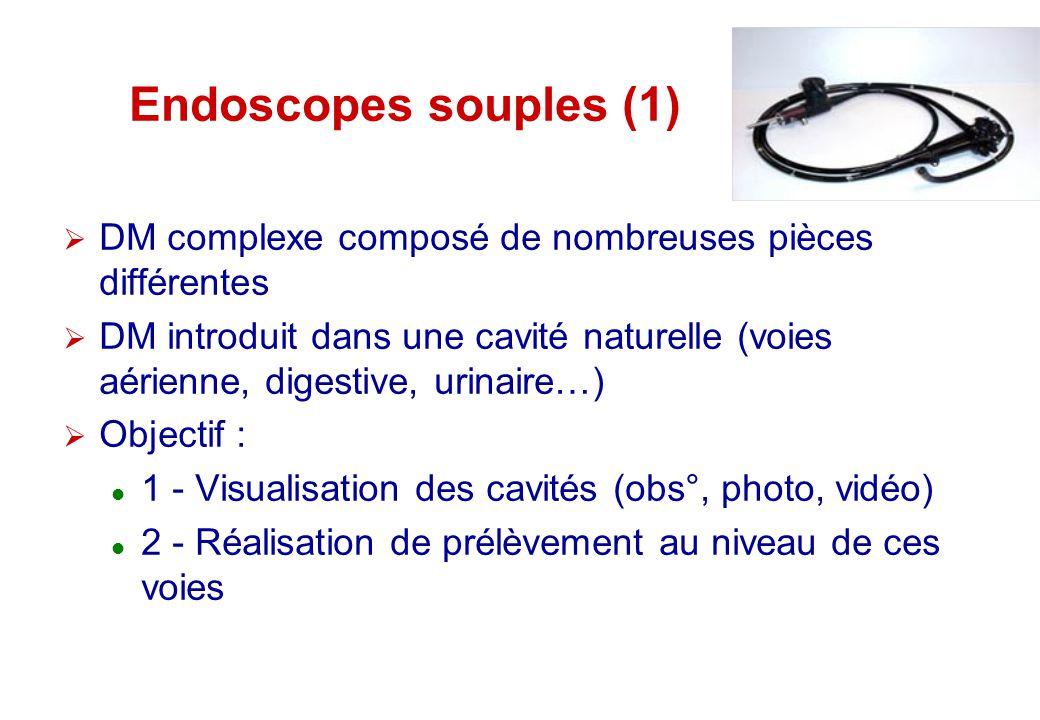 Endoscopes souples (1) DM complexe composé de nombreuses pièces différentes.