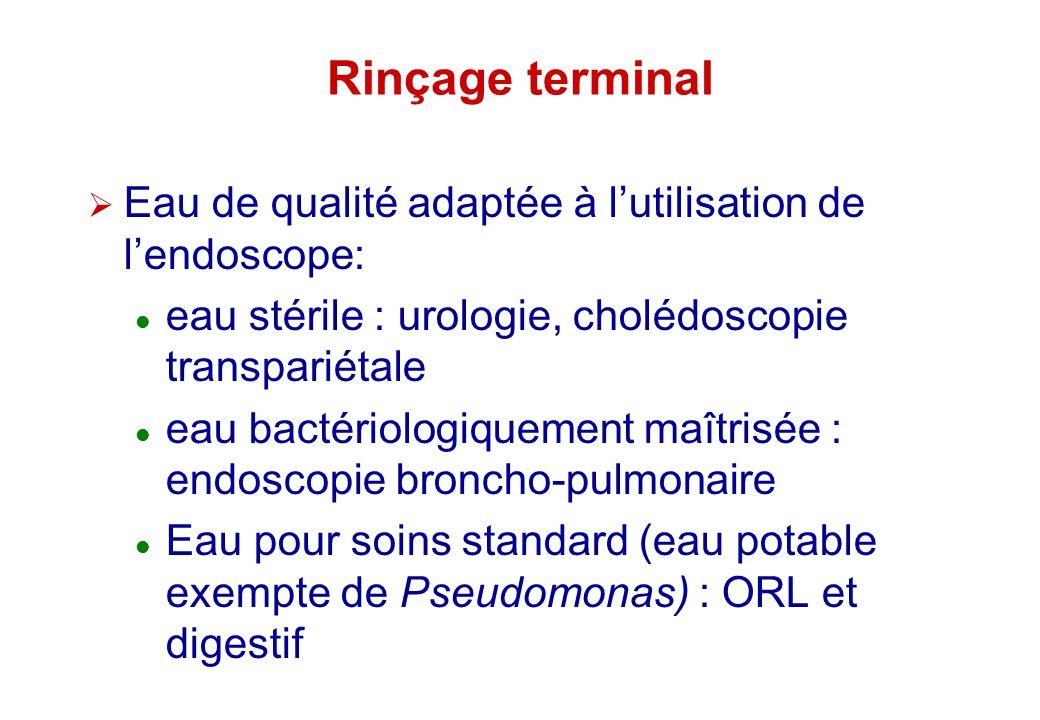 Rinçage terminal Eau de qualité adaptée à l'utilisation de l'endoscope: eau stérile : urologie, cholédoscopie transpariétale.