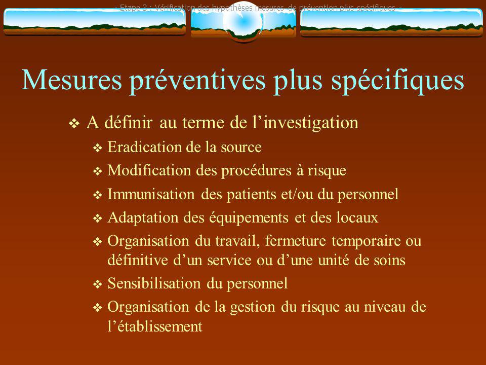 Mesures préventives plus spécifiques