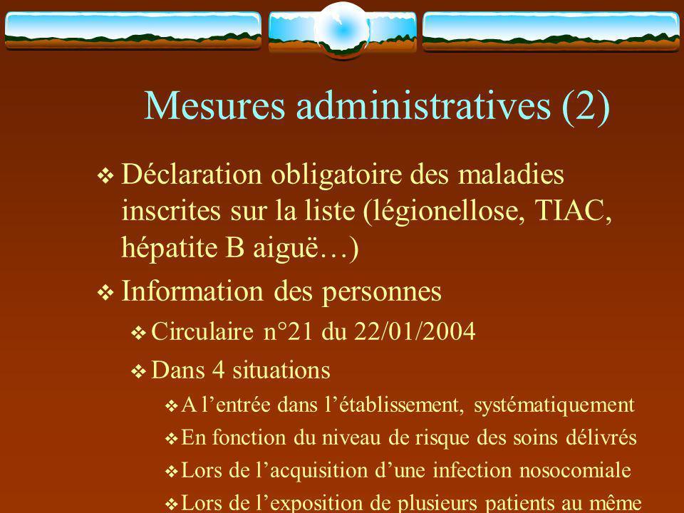 Mesures administratives (2)