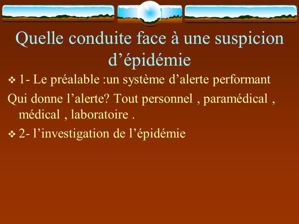 Quelle conduite face à une suspicion d'épidémie