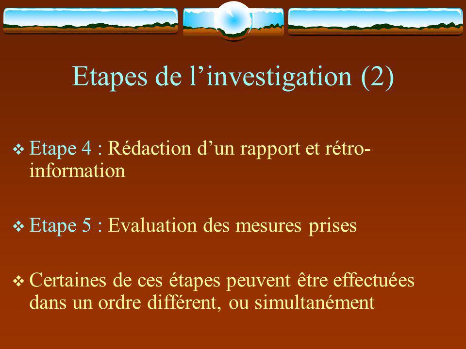 Etapes de l'investigation (2)