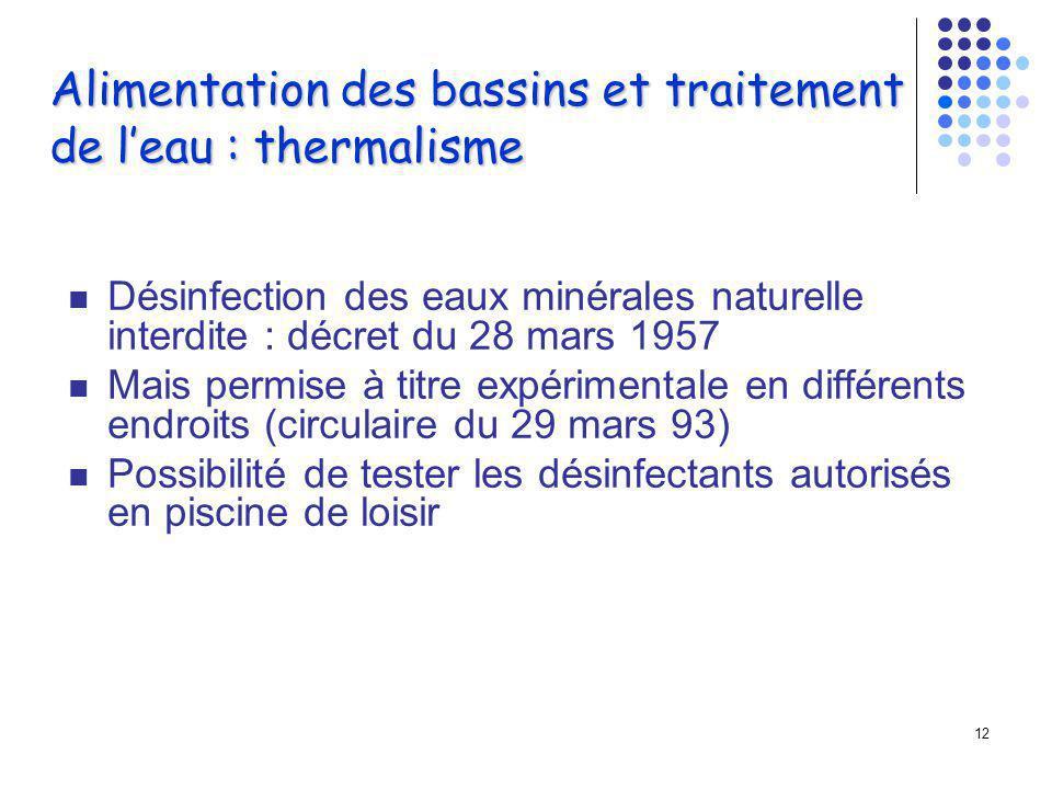 Alimentation des bassins et traitement de l'eau : thermalisme