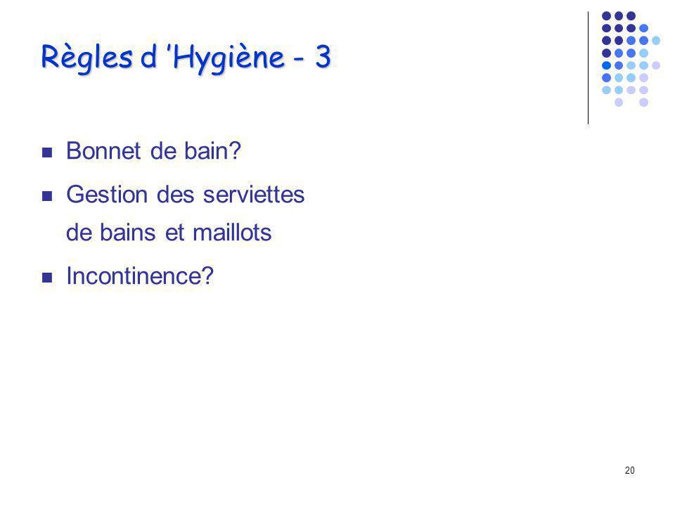 Règles d 'Hygiène - 3 Bonnet de bain