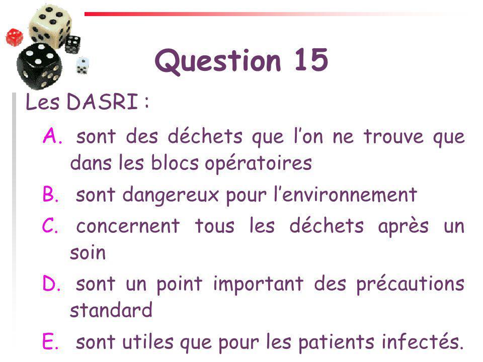 Question 15 Les DASRI : sont des déchets que l'on ne trouve que dans les blocs opératoires. sont dangereux pour l'environnement.